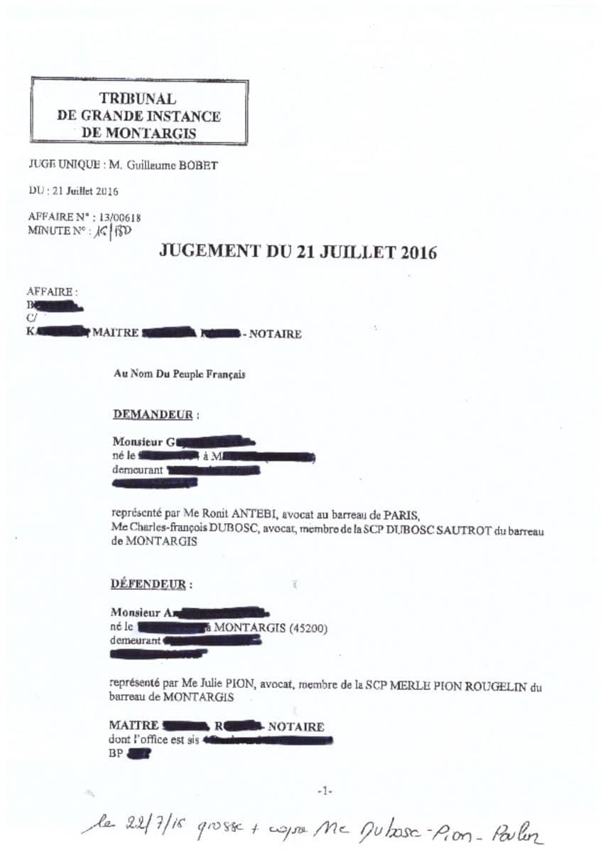 Jugement TGI Montargis - Avocat successions